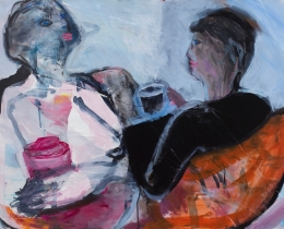 Coffee and Conversation, 75 x 105cm acrylic and collage on board