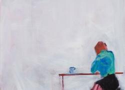The Flat White Girl, 88 x 64 cm acrylic on canvas, framed